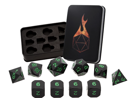 Onyx and Green Metal Dice - 10 Die Set