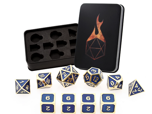 Royal Blue Metal Dice - 10 Die Set