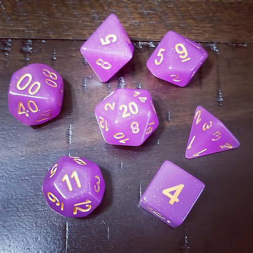 Purple Glitter Polyhedral 7-Die Dice Set