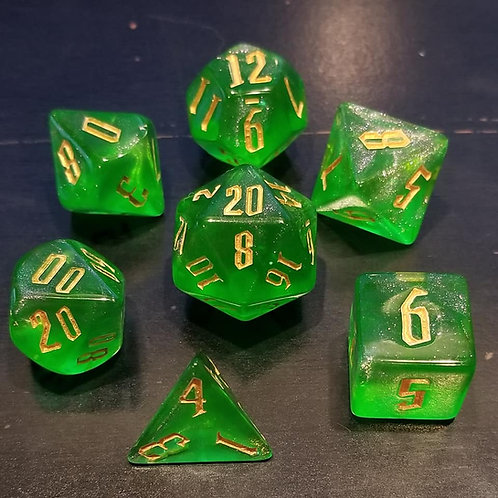 Shimmering Green Dice Set