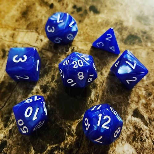 Electric Blue Pearl Dice Set