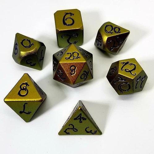 Ancient Gold Dragon Metal Dice Set