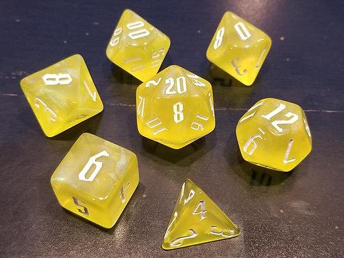 Shimmering Yellow Dice Set