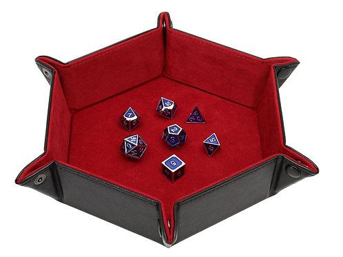 Red Hexagon Flat Folding Dice Snap Tray