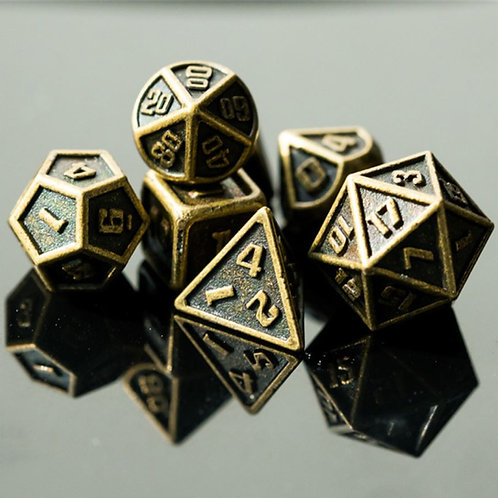 Golden Miniature Metal Dice Set