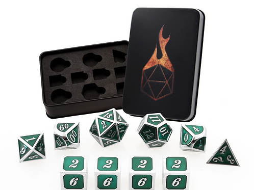 Emerald Guardian 10 Metal Dice Set