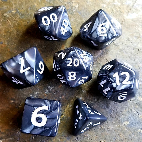Colossal Black Polyhedral Dice Set
