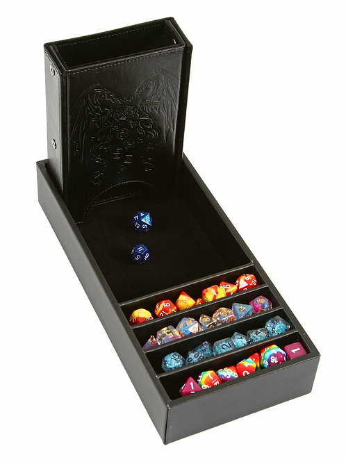 Black Leather Dice Tower and Storage Tray