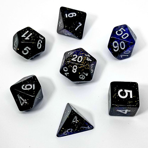 Speckled Blue Polyhedral 7-Die Dice Set
