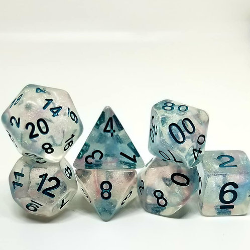Turquoise Galaxy Polyhedral 7-Die Dice Set