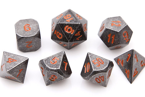 Orange Ancient Iron Metal 7 Dice Set