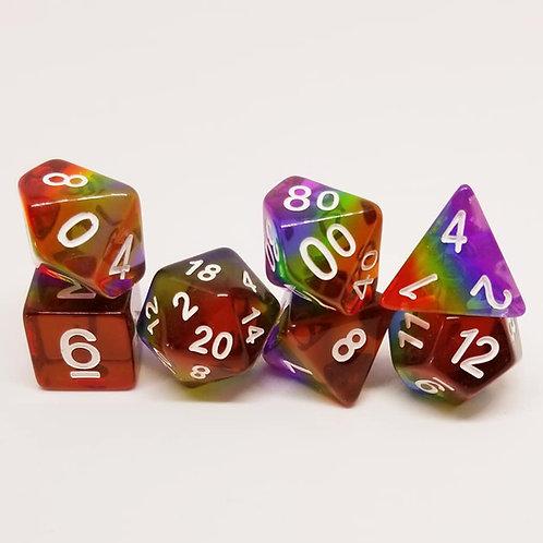 Rainbow 7 Die Set Polyhedral Dice