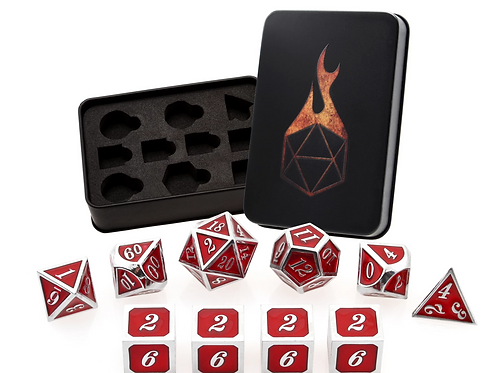 Ruby Guardian Metal Dice - 10 Die Set