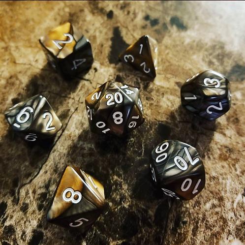 Black/Amber Pearl Dice Set