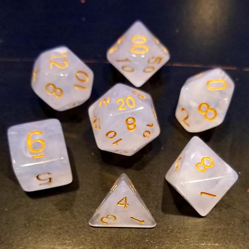 White Jade 7 Dice Set