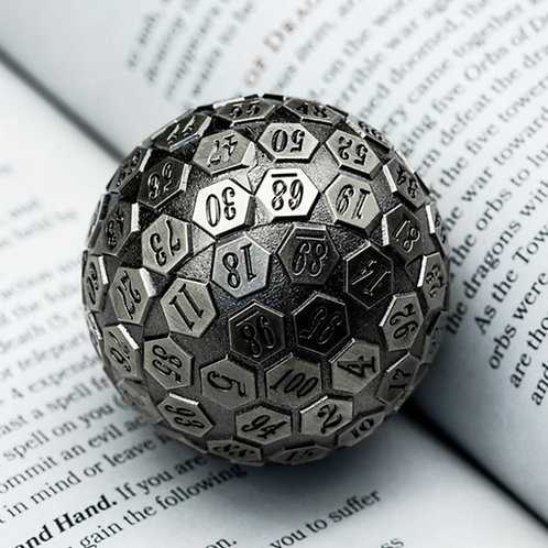 Silver Solid Metal d100