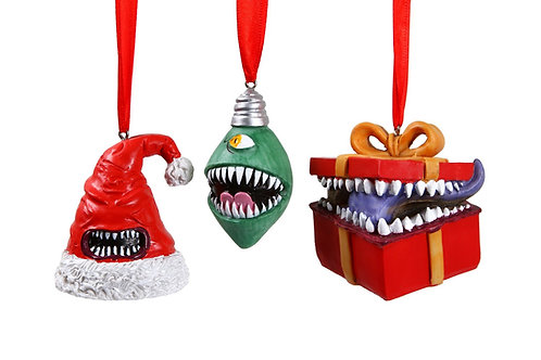 MONSTROUS MERRIMENT MIMIC ORNAMENTS SET