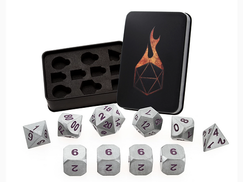 Shining Steel Purple Metal 10 Dice Set