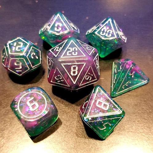 Digital Purple/Green Dice Set
