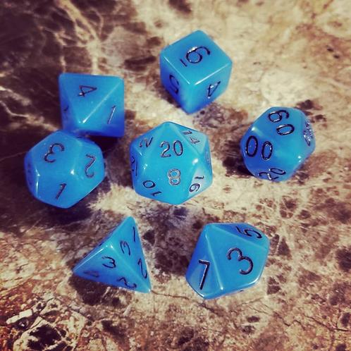 Blue Glow-in-the-Dark Dice Set
