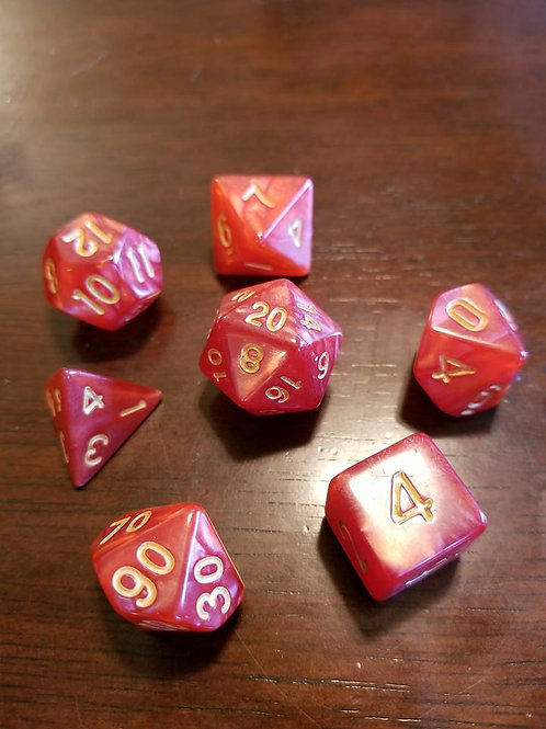 Golden Ruby Dice Set