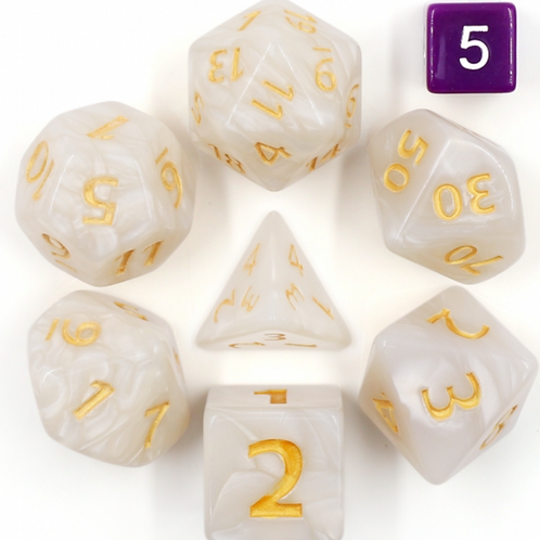 Colossal White Polyhedral Dice Set