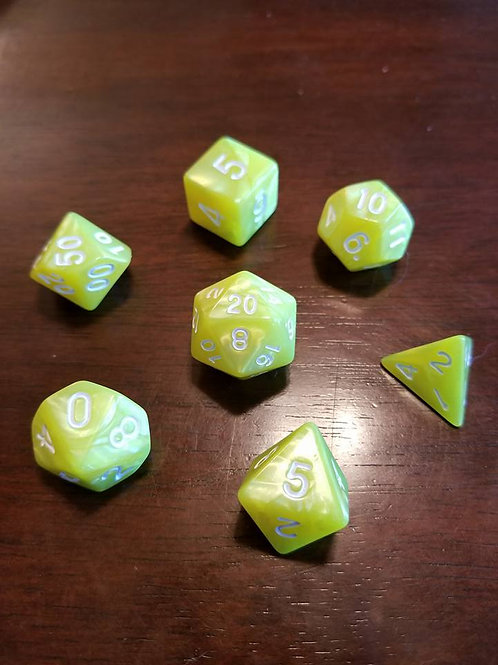 Yellow Pearl Dice Set