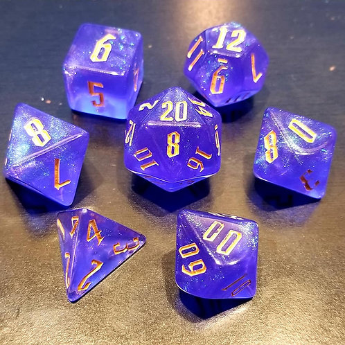 Shimmering Blue Dice Set