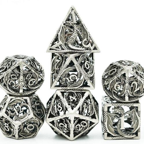 Elder Silver Wyrm Hollow Metal 7 Dice Set