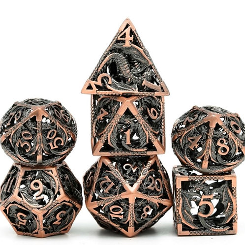 Elder Bronze Wyrm Hollow Metal 7 Dice Set