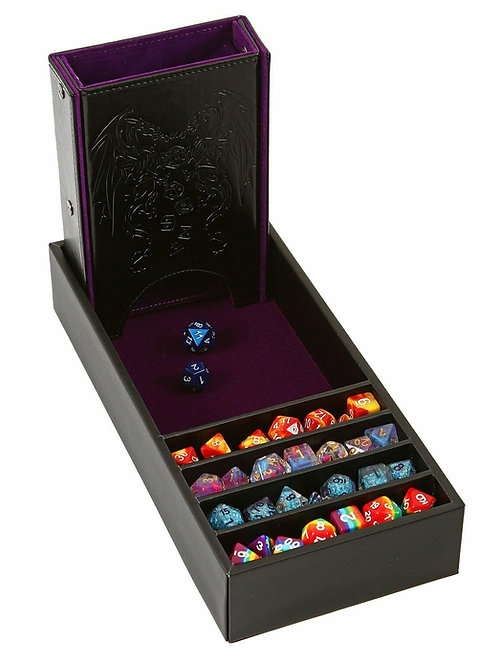 Purple/Black Leather Dice Tower and Storage Tray