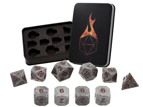 Worn Iron Red 7 Metal Dice Set