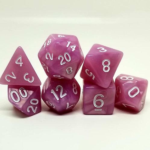 Pink Pearl 7 die set polyhedral dice