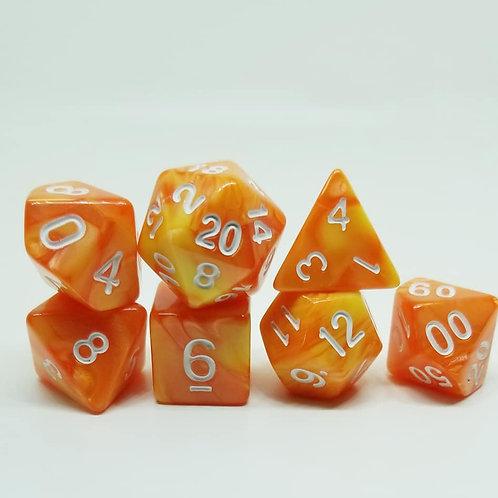 Orange Creamsicle Polyhedral 7-Die Dice Set