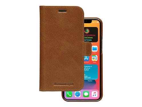 dbramante iPhone 12, Lær wallet avtagbar, brun