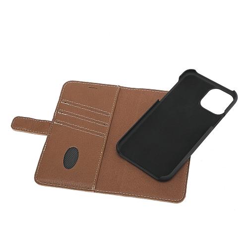 Essentials iPhone 11, Lær wallet avtagbar, brun