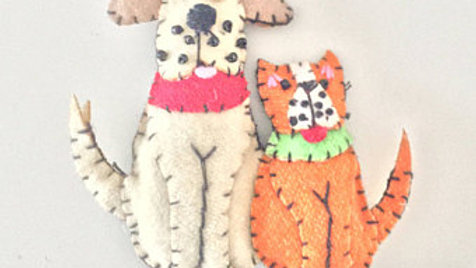 Dog and Cat Christmas Ornament