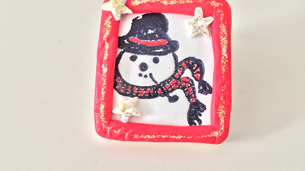 Red Framed Snowman Pin