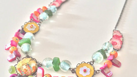 Solid Floral Charm Layered Necklace