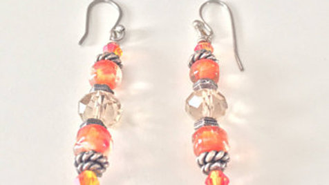 Orange Twist Beaded Earrings