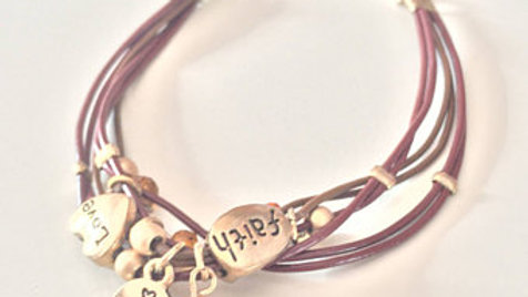 Brown and Gold Layered Charm Bracelet