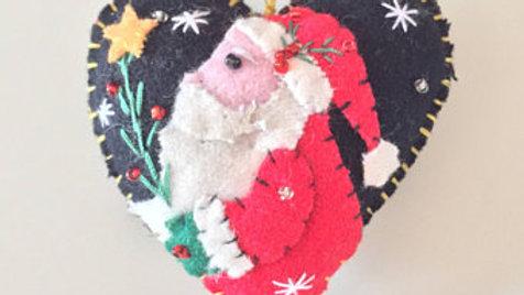 Santa Heart Christmas Ornament
