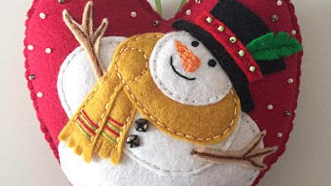 Heart Snowman Christmas Ornament