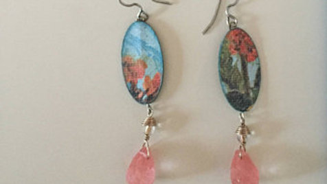 Blue and Pink Floral Earrings
