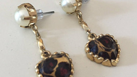 Pearl and Cheetah Heart Dangle Earrings