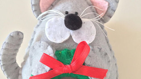 Gray Kitty Christmas Ornament