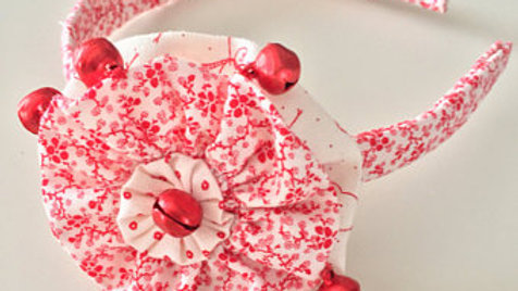 Red and White Jingle Bell Christmas Headband