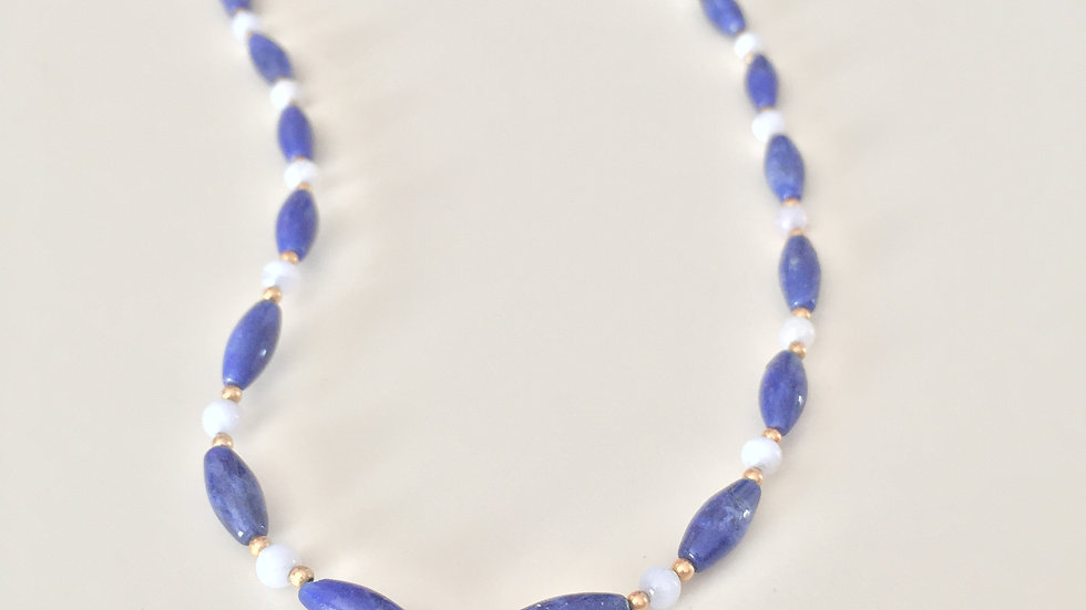 Blue, Gold, and White Beaded Necklace