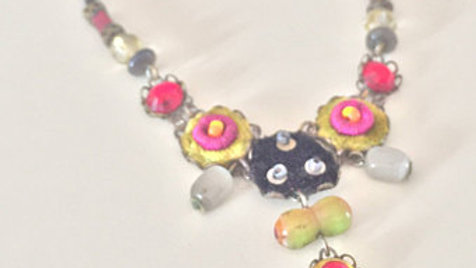 Abstract Floral Beaded Necklace