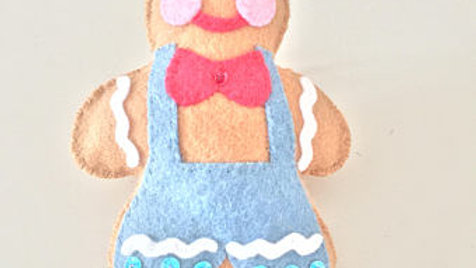 Overall Gingerbread Man Christmas Ornament